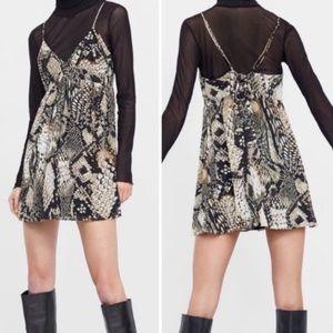 NWT Zara Snake Print Spaghetti Strap Mini Dress